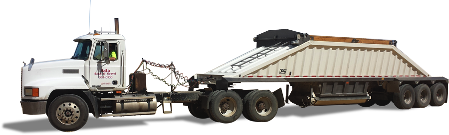 White Ada Sand & Gravel End Dump Truck